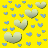 Abstract colorful heart on yellow background Royalty Free Stock Image