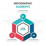 Abstract colorful Hexagon business Infographics elements, presentation template flat design vector illustration for web design. Marketing advertising stock illustration