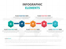Abstract colorful hexagon business timeline Infographics elements, presentation template flat design vector illustration for web. Design marketing advertising royalty free illustration