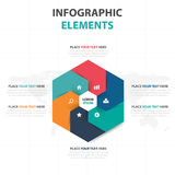 Abstract colorful hexagon business timeline Infographics elements, presentation template flat design vector illustration for web. Design marketing advertising stock illustration