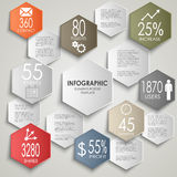 Abstract colorful hexagon info graphic poster temp Royalty Free Stock Photos