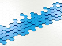 Abstract Colorful Hexagons. 3d abstract design with blue hexagons on white background Stock Image