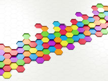 Abstract Colorful Hexagons. 3d abstract design with colorful hexagons on white background Stock Images