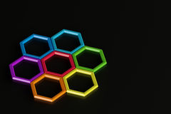 Abstract Colorful Hexagons. 3d abstract design with colorful hexagons on white background Stock Image