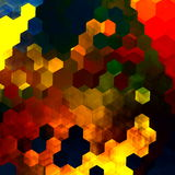 Abstract colorful hexagons illustration. Yellow red blue green orange colors. Cool messy clutter. Cells render. Wallpaper art. Stock Images