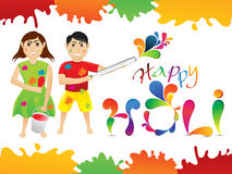 Abstract colorful holi cartoon playing holi Stock Image