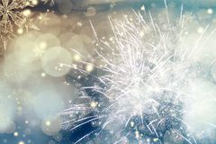 Abstract holiday background with fireworks. Abstract colorful holiday background of sky with fireworks and stars Royalty Free Stock Photography