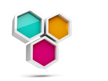 Abstract colorful honeycomb 3d element. Abstract glossy colorful honeycomb 3d design element  on white background Stock Image