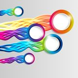 Abstract colorful hoop circle frames with tails. On a light background Stock Photo