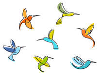 Abstract colorful hummingbirds Royalty Free Stock Photography