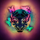 Abstract colorful illustration of tiger with paint splashes Stock Photos
