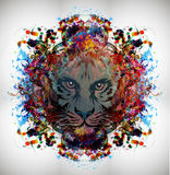 Abstract colorful illustration of tiger with paint splashes. Abstract colorful illustration of tiger Stock Illustration