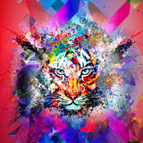 Abstract colorful illustration of tiger with paint splashes Royalty Free Stock Photos