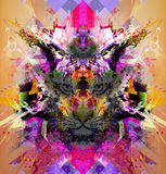 Abstract colorful illustration of tiger with paint splashes Royalty Free Stock Photography