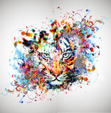 Abstract colorful illustration of tiger with paint splashes Stock Image