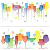 Abstract colorful illustration of wine drink glasses. Vector logo template. Concept for bar menu, alcohol Royalty Free Stock Photography