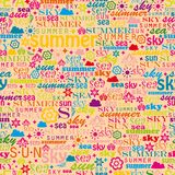 Abstract colorful image made from words which. Relate with summer and holiday Stock Photos