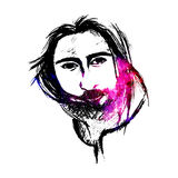 Abstract colorful Jesus face on white background; Christianity art Stock Photos
