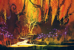Abstract colorful landscape,fantasy forest Stock Images