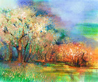 Abstract colorful landscape oil painting Stock Photos