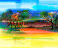 Abstract colorful landscape painting Royalty Free Stock Photos