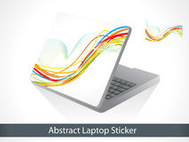Abstract colorful laptop sticker. Vector illustration royalty free illustration