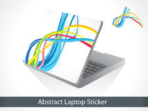 Abstract colorful laptop sticker. Vector illustration stock illustration