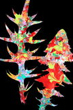 Abstract colorful leaves. Colorful abstract leaves of a thistle and dandelion, black background Stock Photo