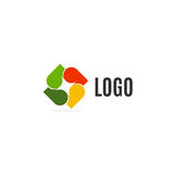 abstract colorful leaves logo on white background. Autumn logotype. Tree element. Unusual cross icon Stock Photos