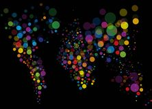 Abstract colorful light world map Stock Images