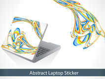 Abstract colorful line wave laptop sticker Stock Photo