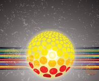 Abstract colorful lines, ball on grunge background Royalty Free Stock Photo
