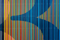 Abstract colorful lines. Detail of a decoration wall outdoor royalty free stock photos