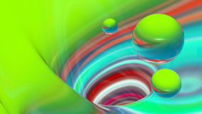 Abstract colorful lines and spheres. Royalty Free Stock Image