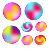 Abstract colorful liquid colors glowing circles and shapes. Decorative design elements. Abstract colorful liquid colors circles. Glowing shapes. Decorative Stock Image