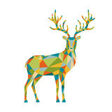 Abstract colorful low poly triangle  deer isolated on white back. Abstract colorful polygonal triangle  deer isolated on white background. Vector illustration Royalty Free Stock Image