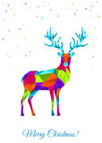 Abstract colorful low poly  Xmas deer on white background. Stock Photos