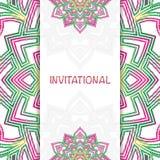 Invitational abstract mandala. Abstract colorful mandala flower invitational poster background Stock Photos