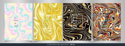 Abstract of colorful marble brochure set. royalty free illustration