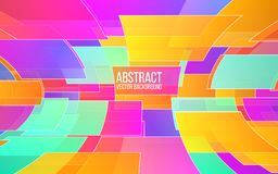 Abstract colorful mosaic. Trendy color shapes in perspective. Background with bright squares. Dynamic gradients for. Website, banner, poster. Vector Stock Image