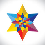 Abstract colorful multiple stars arranged together stock illustration