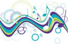Abstract colorful music note stock illustration