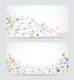 Abstract colorful music notes banner Royalty Free Stock Image