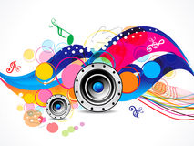Abstract colorful musical background with speaker Stock Photography