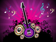 Abstract colorful musical night with guitar Royalty Free Stock Photo