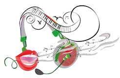Abstract colorful musical poster design with headphones and musical waves. Hand drawn vector illustration vector illustration