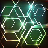 Abstract colorful neon background with hexagons Stock Images