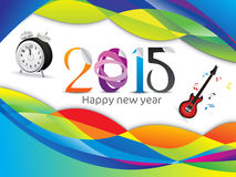 Abstract colorful new year background. Abstract new year background with clock and guitar  illustration Stock Photography