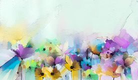 Abstract colorful oil, acrylic painting of spring flower. Hand painted brush stroke on canvas. Illustration oil painting floral for background. Modern art royalty free illustration