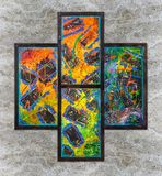 Abstract colorful oil painting stock photography